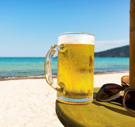 beer mug on the beach